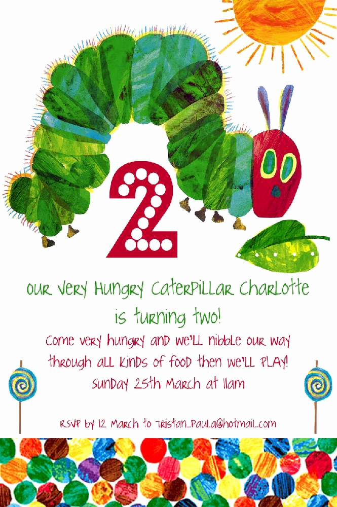 Hungry Caterpillar Invitation Template Awesome the Very Hungry Caterpillar by Eric Carle Birthday Party