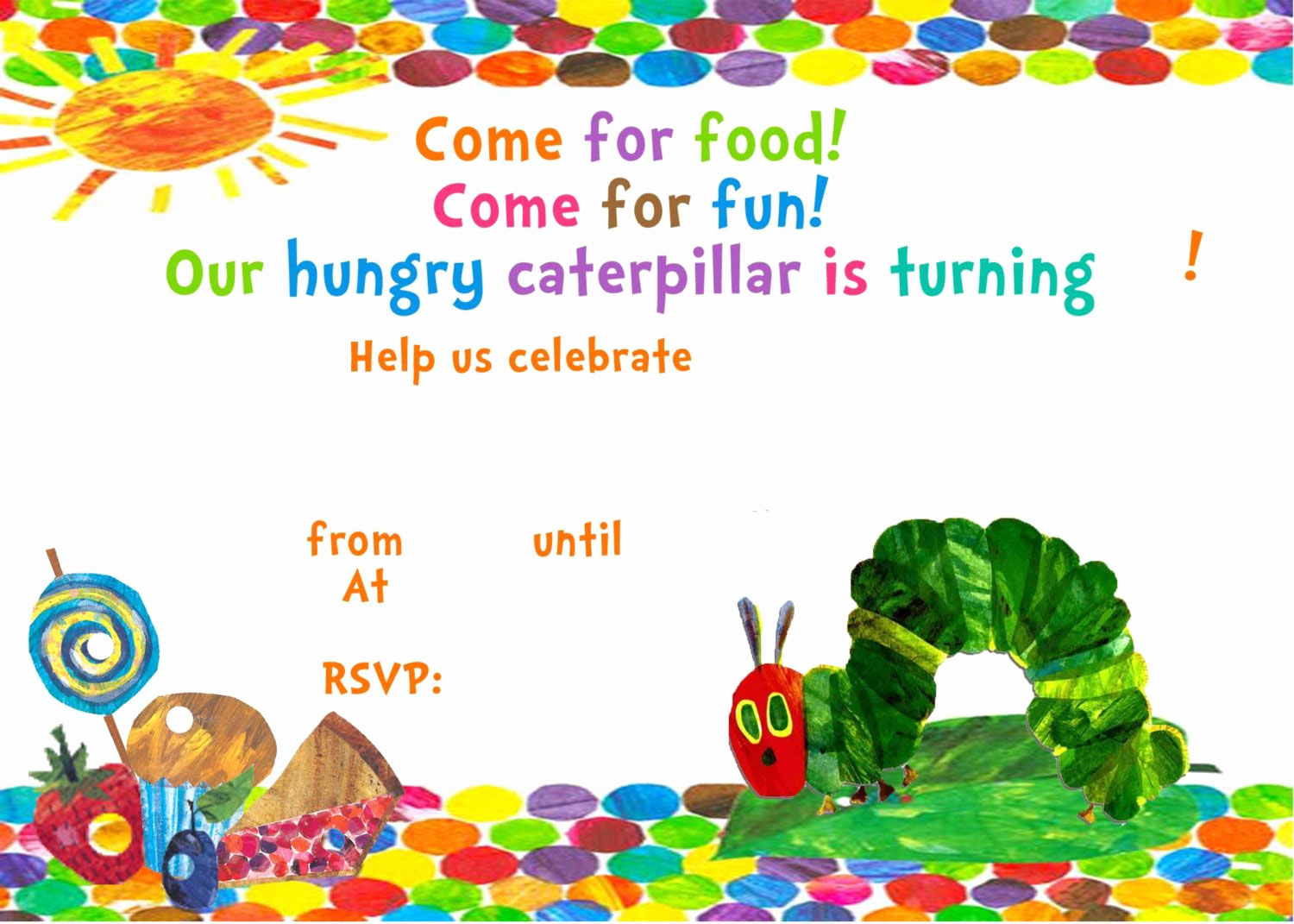Hungry Caterpillar Invitation Template Awesome Very Hungry Caterpillar Invitation Template Free