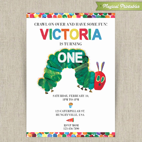 Hungry Caterpillar Invitation Template Beautiful Very Hungry Caterpillar Printable Birthday Invitation