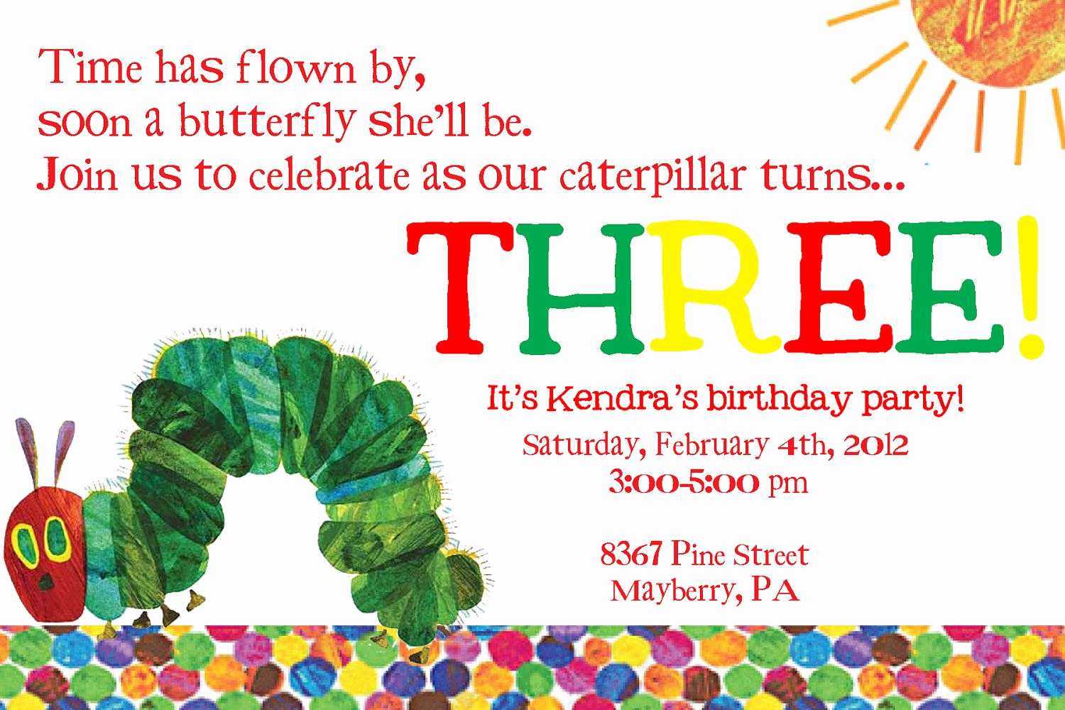 Hungry Caterpillar Invitation Template Best Of Very Hungry Caterpillar Third Birthday Invitation $12 00