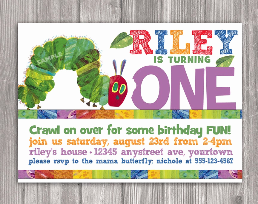 Hungry Caterpillar Invitation Template Fresh Very Hungry Caterpillar Invitation for Birthday by