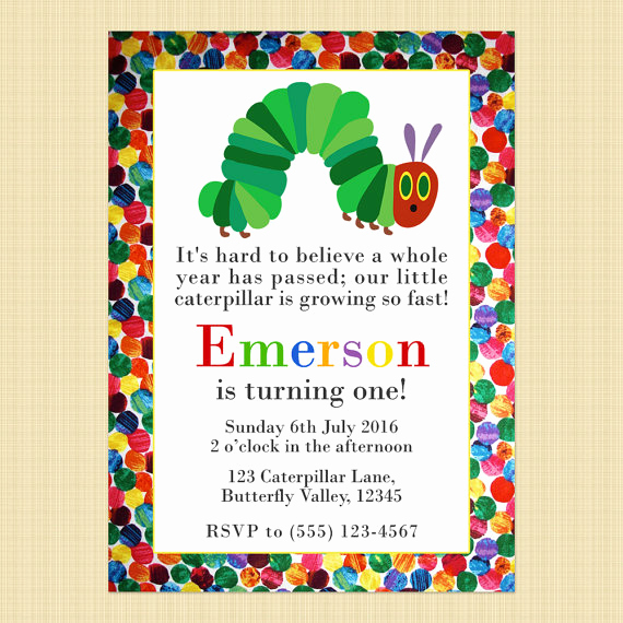 Hungry Caterpillar Invitation Template Inspirational the Very Hungry Caterpillar Birthday Invitation Card Hungry