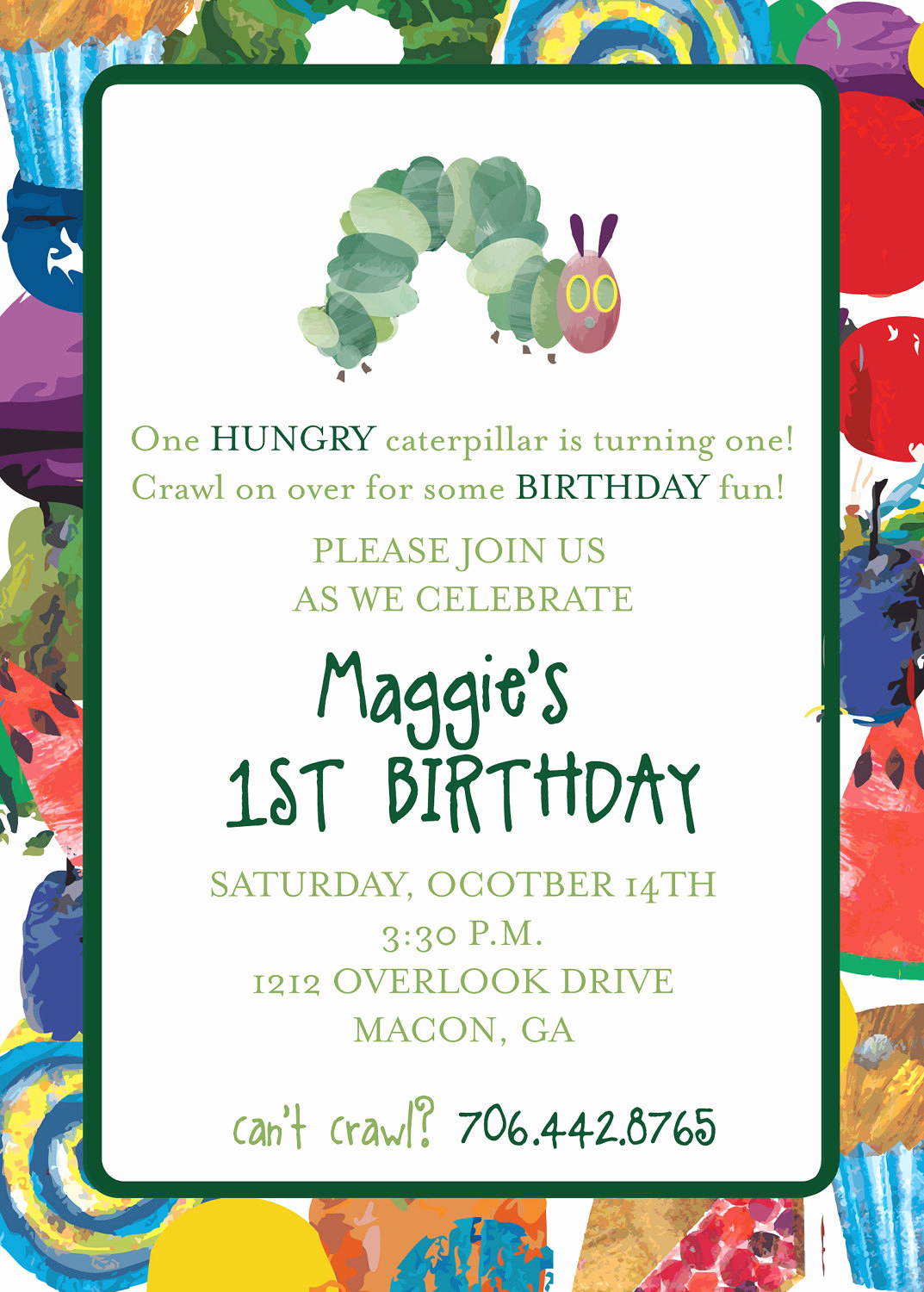 Hungry Caterpillar Invitation Template Luxury Very Hungry Caterpillar Invitation by Camaddisondesigns On