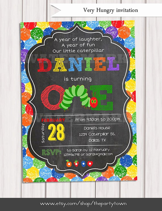Hungry Caterpillar Invitation Template Luxury Very Hungry Caterpillar Invitation Chalkboard by thepartytown