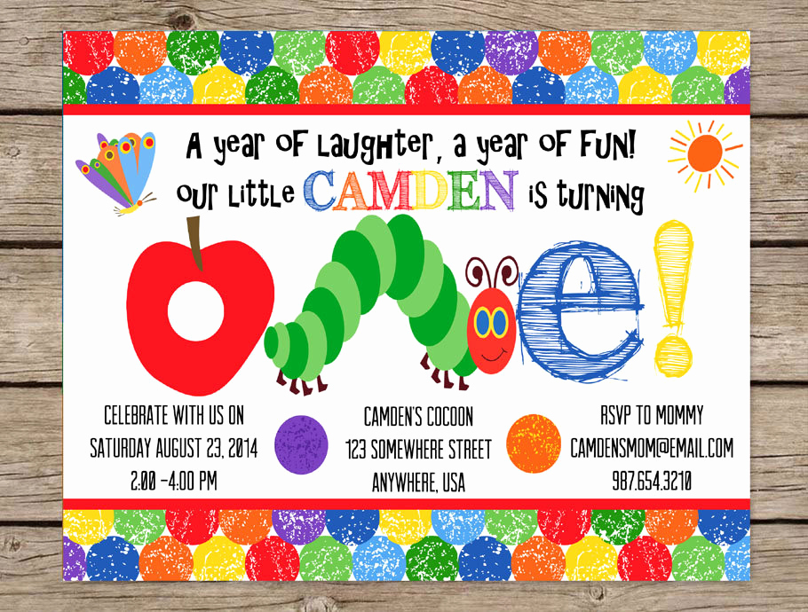 Hungry Caterpillar Invitation Template Luxury Very Hungry Caterpillar Invitation First by Play Wordsart