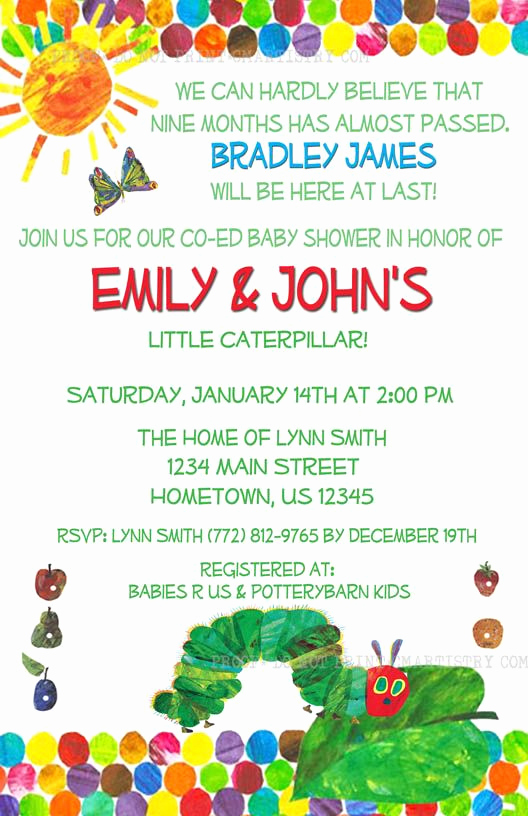 Hungry Caterpillar Invitation Template New Hungry Caterpillar Baby Shower Invitation