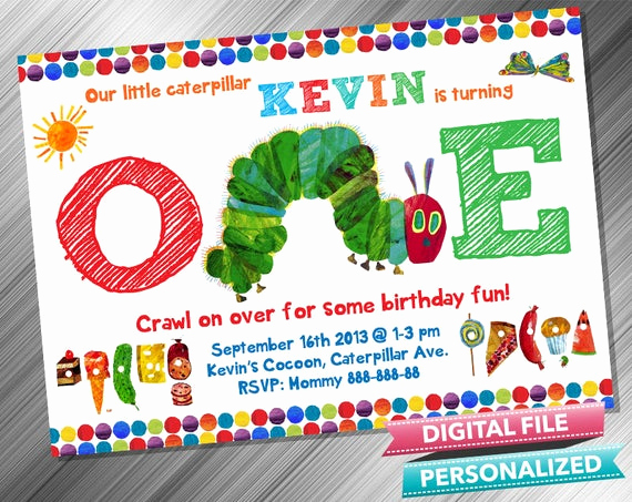 Hungry Caterpillar Invitation Template New Very Hungry Caterpillar Invitation by Kidspartydiy On Etsy