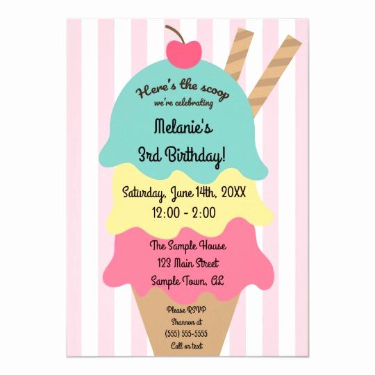 Ice Cream Invitation Template Awesome Cute Ice Cream Birthday Invitation
