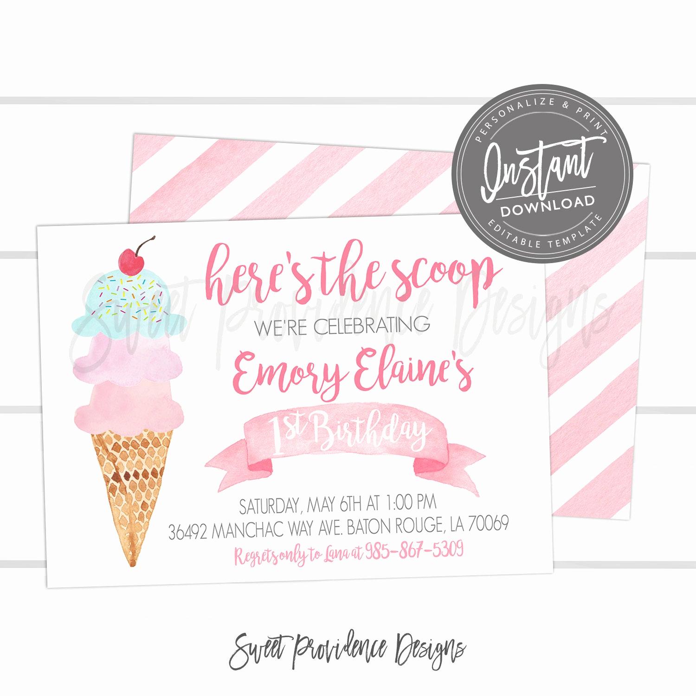 Ice Cream Invitation Template Beautiful Ice Cream Birthday Party Invitation Editable First