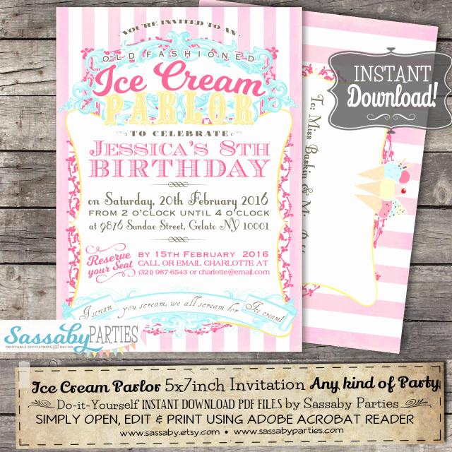 Ice Cream Parlor Invitation