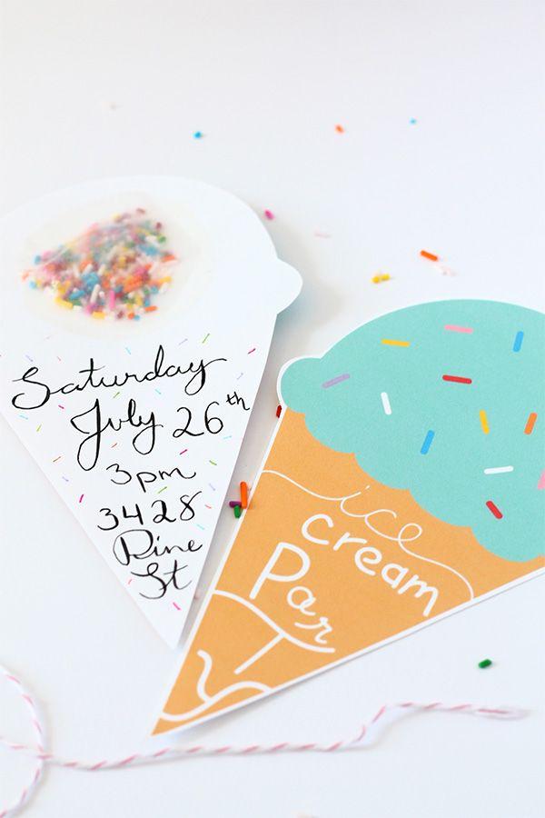 Ice Cream Invitation Template Beautiful Print Diy Bright events