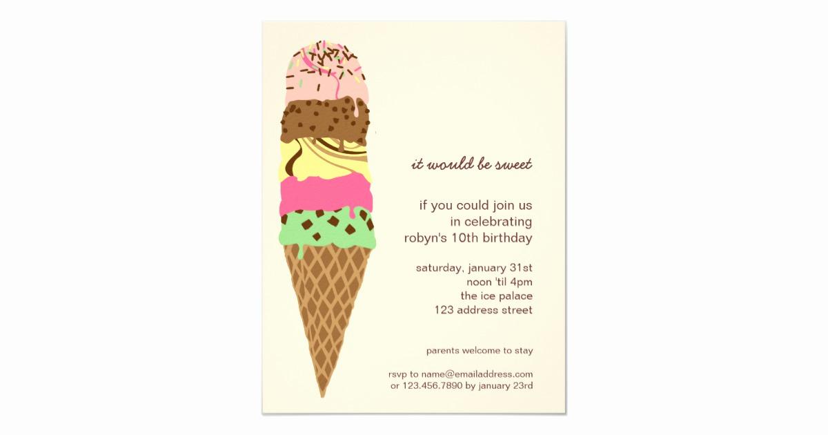 Ice Cream Invitation Template Unique Ice Cream Cone Birthday Party Invitation Template