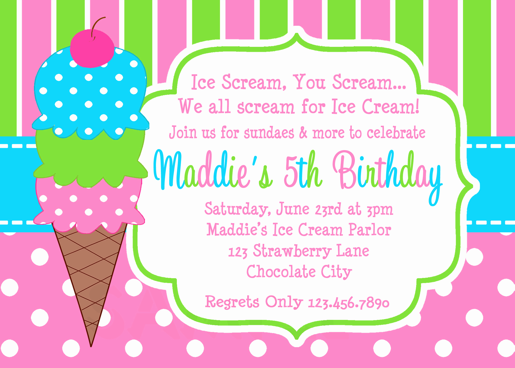 Ice Cream Invitation Template Unique Printable Birthday Invitations Girls Ice Cream Party