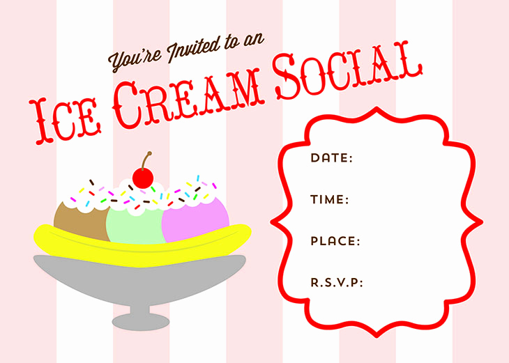 Ice Cream Party Invitation Awesome Free Printable Ice Cream social Invite