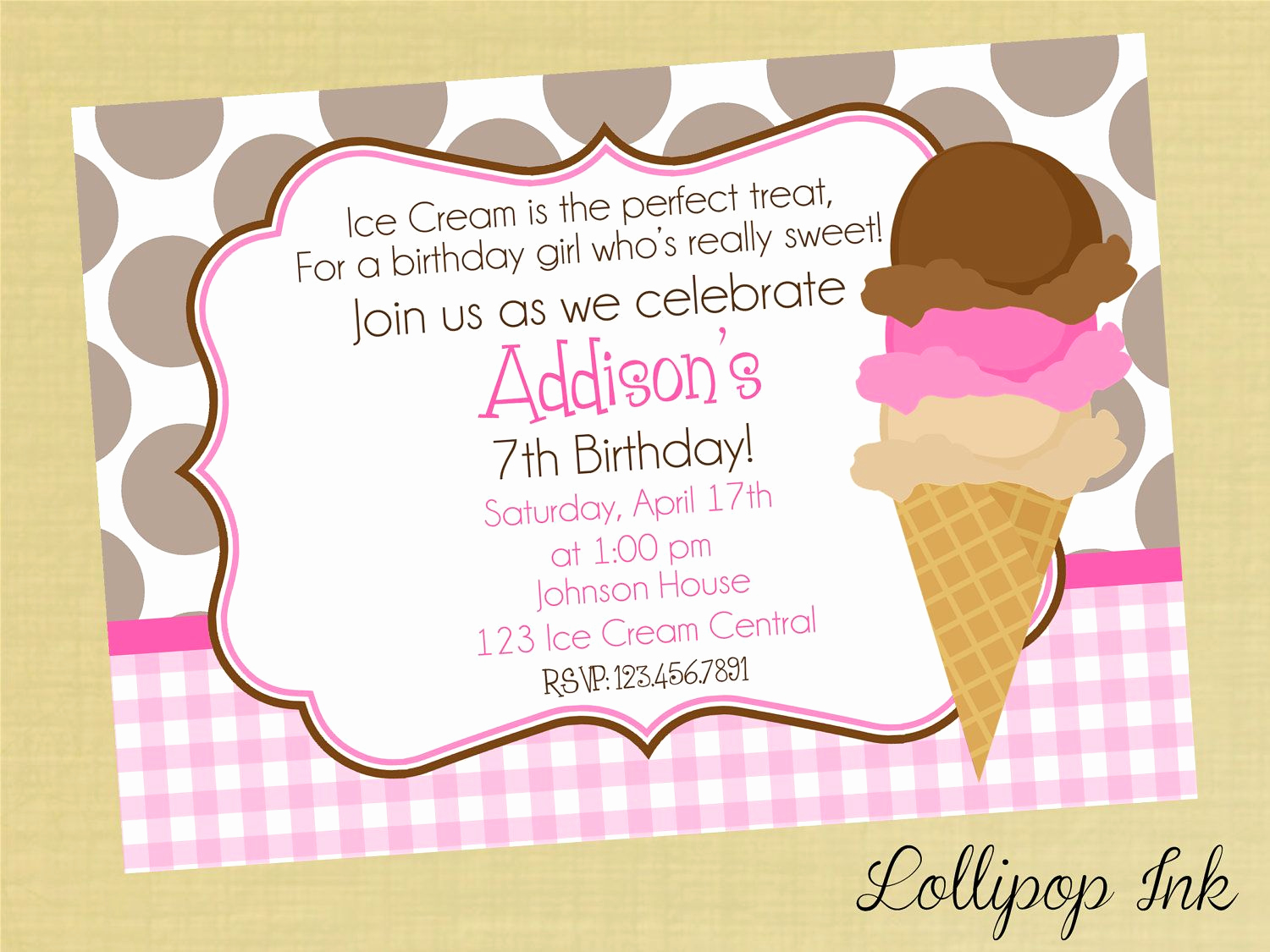 Ice Cream Party Invitation Awesome Ice Cream Cone Printable Birthday Invitation Ice Cream
