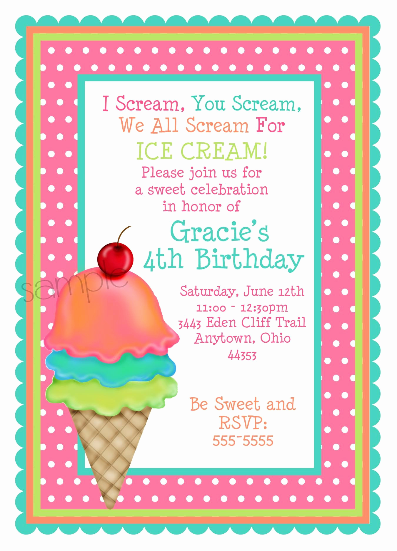 Ice Cream Party Invitation Awesome Ice Cream Invitations Ice Cream Cone Invitations Ice Cream