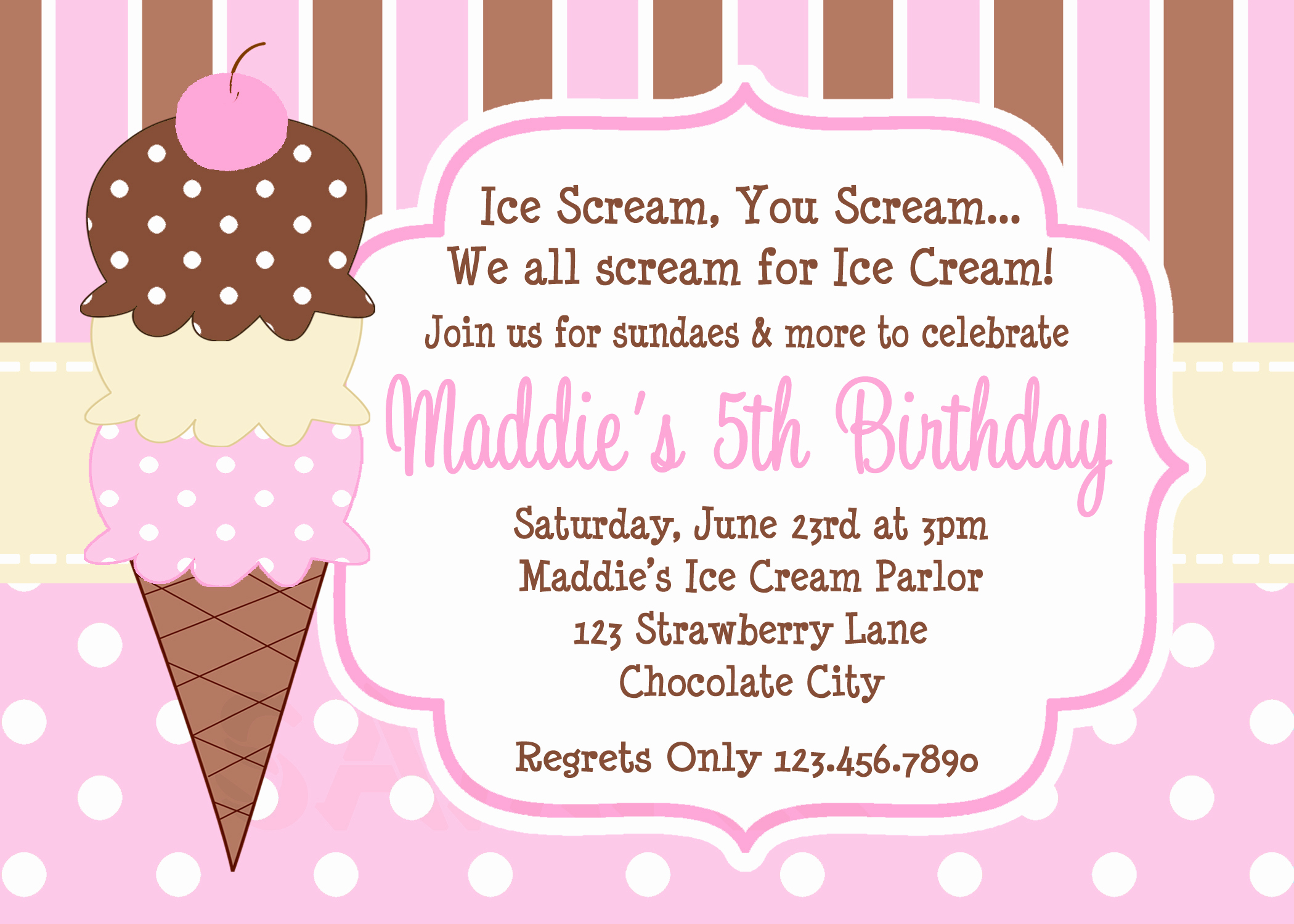 Ice Cream Party Invitation Beautiful Ice Cream Birthday Party Invitations