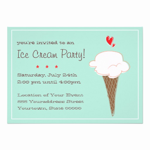 Ice Cream Party Invitation Beautiful Ice Cream Party Invitation