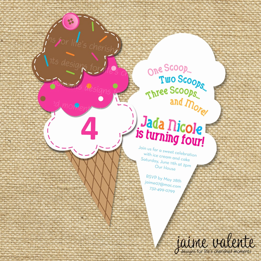Ice Cream Party Invitation Beautiful Items Similar to Ice Cream Cone Birthday Invitation On Etsy