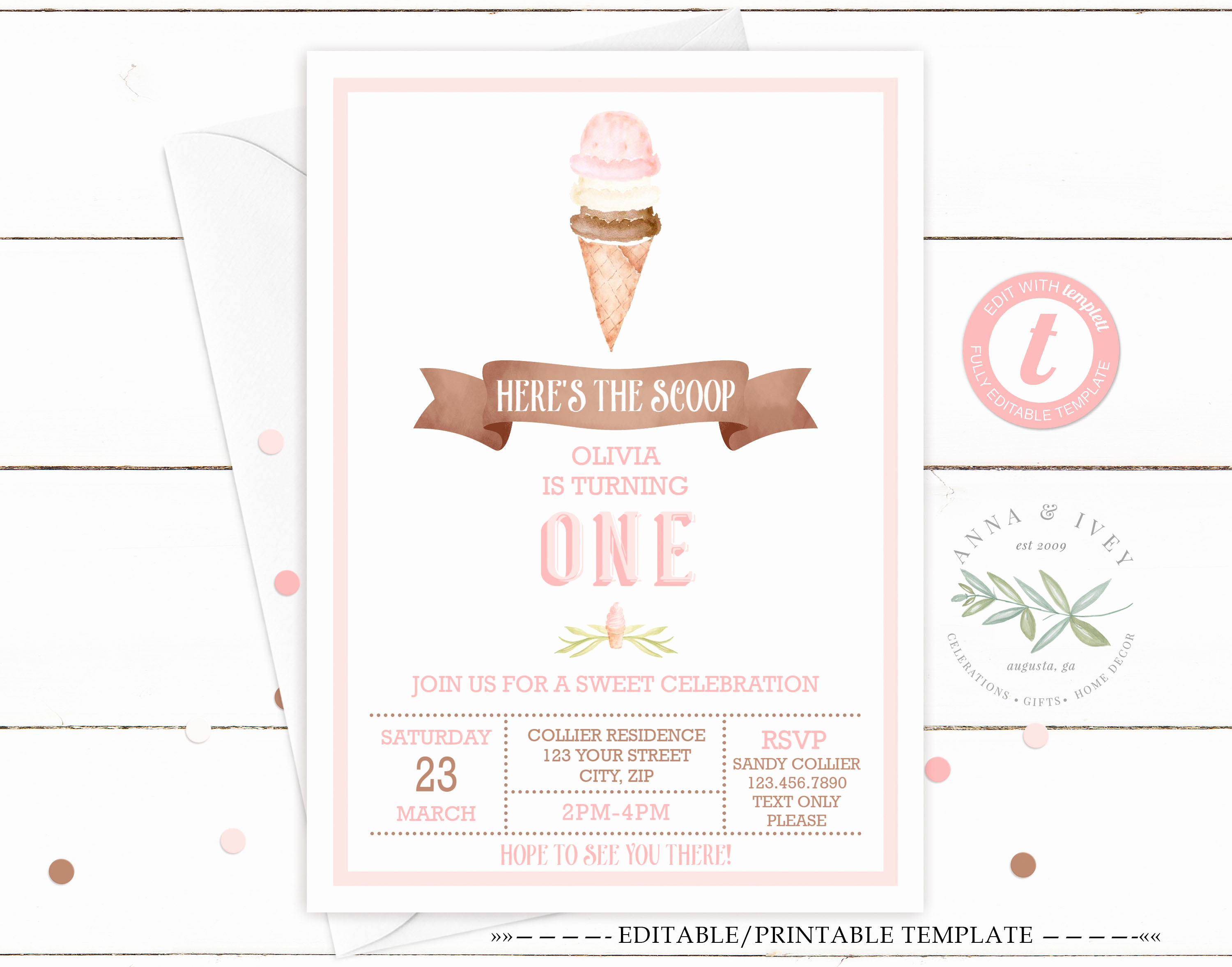 Ice Cream Party Invitation Beautiful Printable Ice Cream Party Invitation White Anna & Ivey
