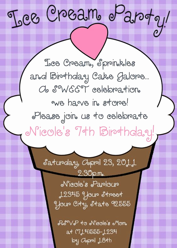 Ice Cream Party Invitation Fresh Ice Cream Party Birthday Invitation You Print 5 Designs
