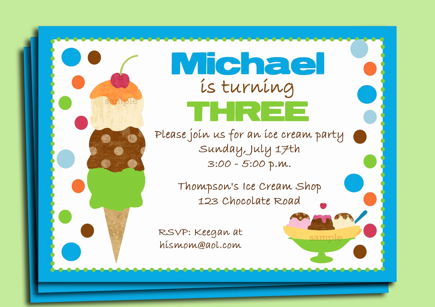 Ice Cream Party Invitation Inspirational Boy S Ice Cream Party Invitation Printable or Printed with