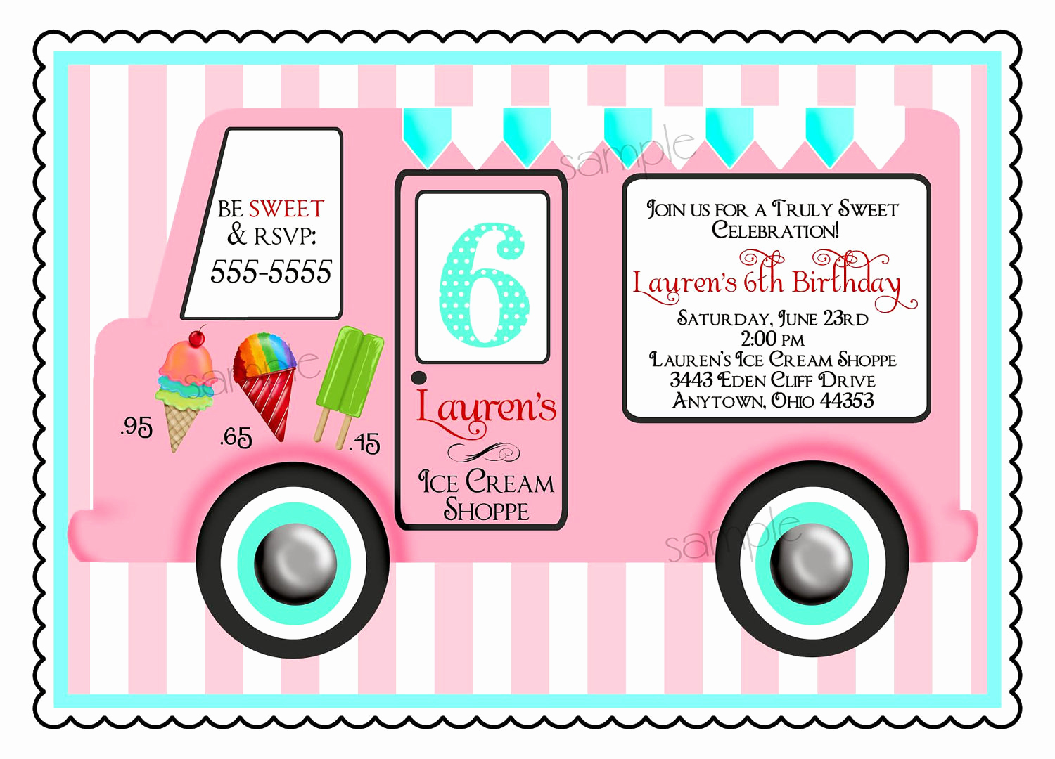 Ice Cream Party Invitation Inspirational Ice Cream Birthday Party Invitations Vintage Ice Cream Truck