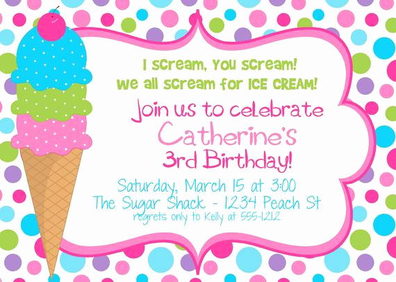 Ice Cream Party Invitation Inspirational Items Similar to Polka Dot Ice Cream Cone Birthday Party