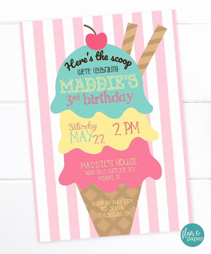 Ice Cream Party Invitation Lovely Best 25 4th Birthday Parties Ideas On Pinterest