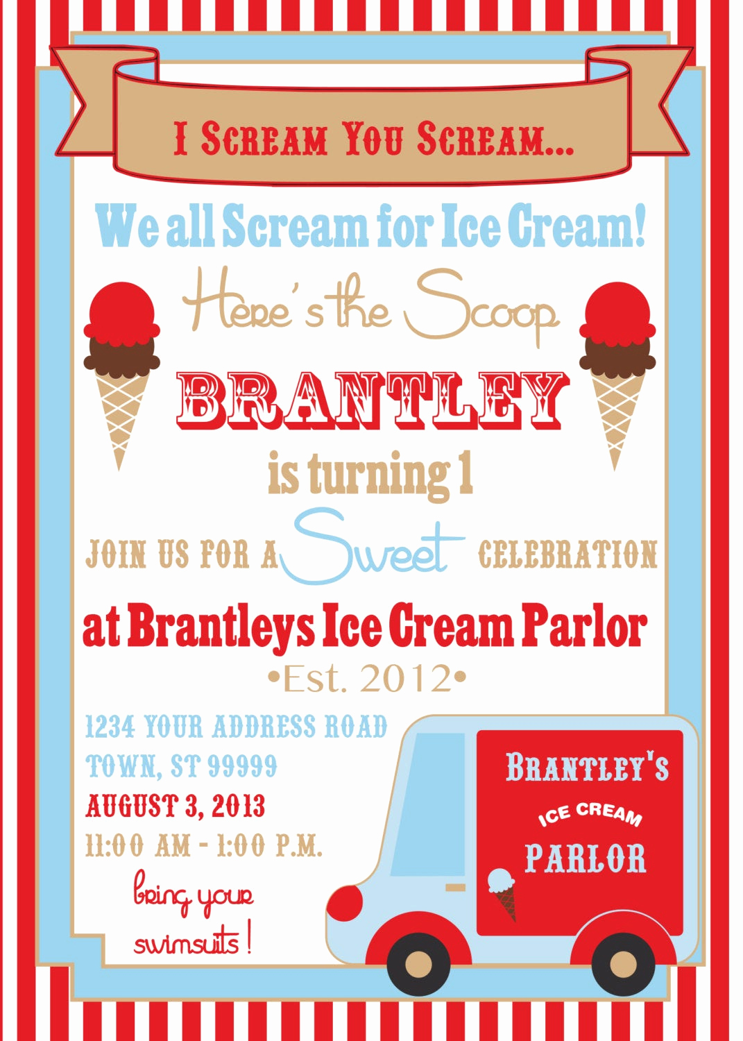 Ice Cream Party Invitation Luxury Ice Cream Party Invitation