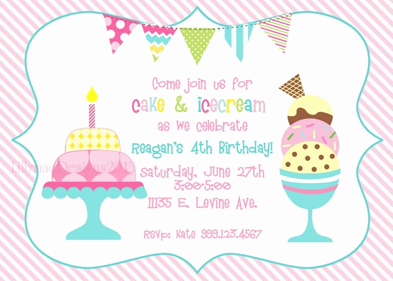 Ice Cream Party Invitation New Cake and Ice Cream Birthday Party Invitation Digital File