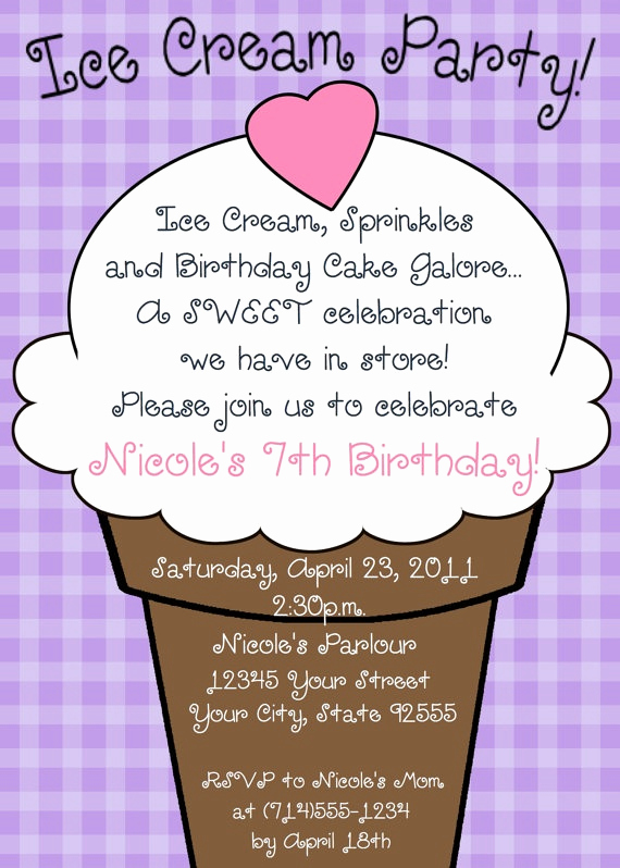 Ice Cream Party Invitation New Ice Cream Party Birthday Invitation You Print 5 Designs