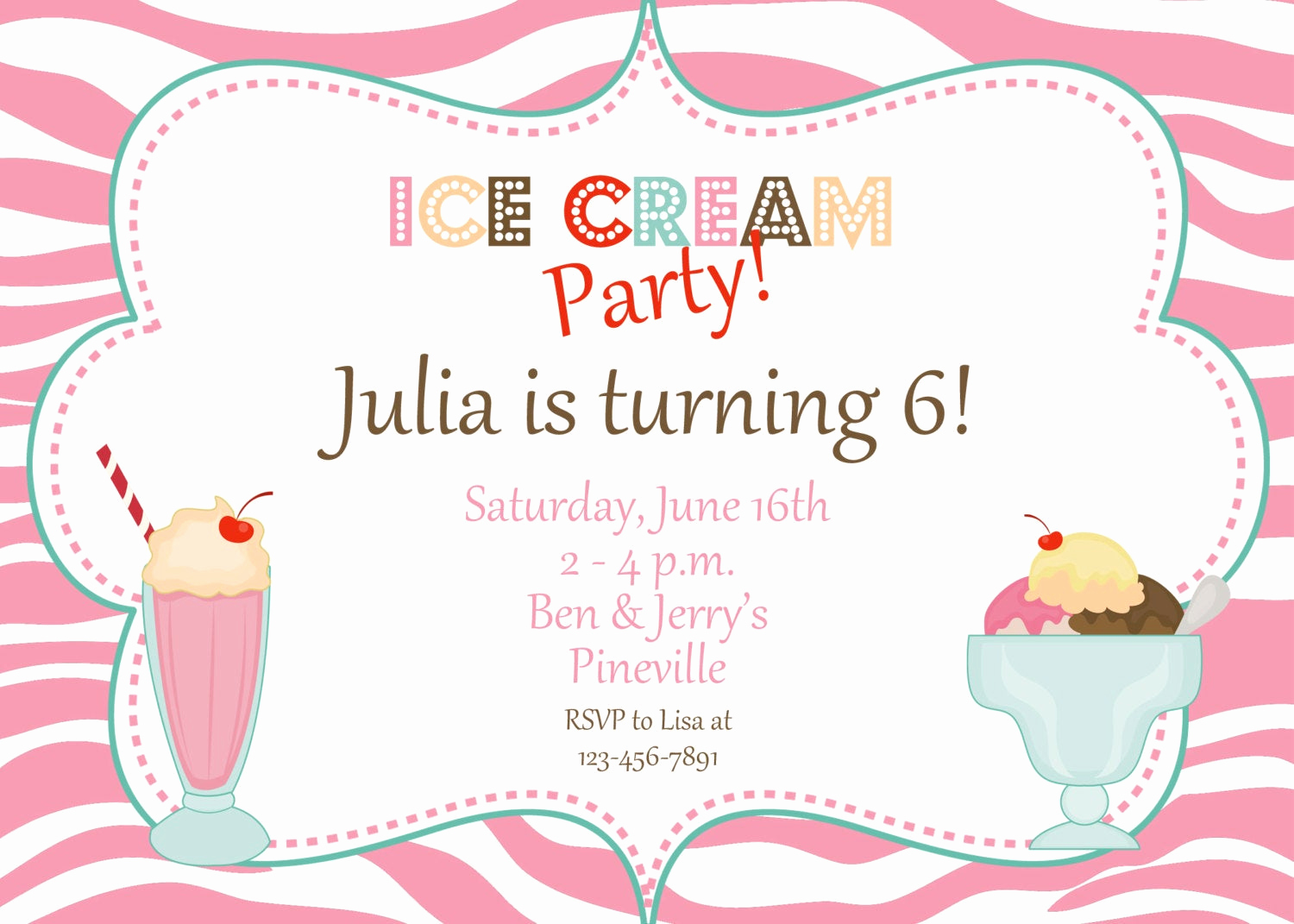 Ice Cream Party Invitation Unique Zebra Print Ice Cream Party Birthday by thebutterflypress