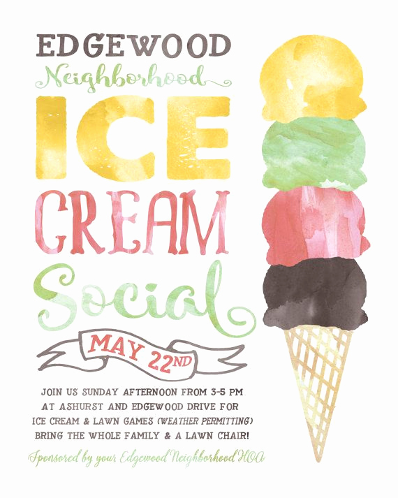 Ice Cream social Invitation Awesome Ice Cream social Flyer Electronic Print File Kids by