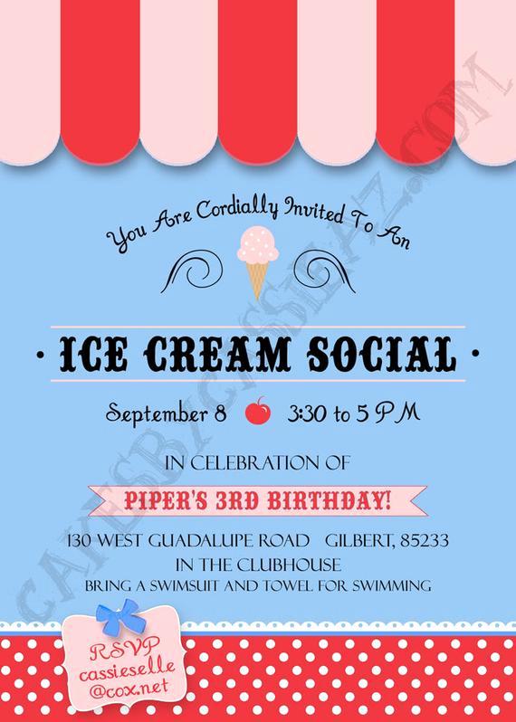 Ice Cream social Invitation Best Of Items Similar to Ice Cream social Invitation On Etsy