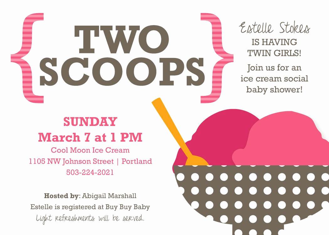 Ice Cream social Invitation Elegant Baby Shower Invitation for Twins Ice Cream social theme