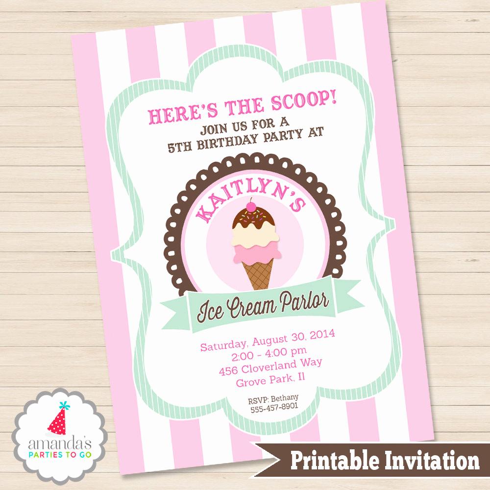 Ice Cream social Invitation Inspirational Ice Cream Party Invitation Ice Cream Birthday Invitation