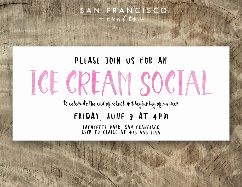 Ice Cream social Invitation Inspirational Ice Cream social Invitation Ice Cream by Sanfranciscocrafts