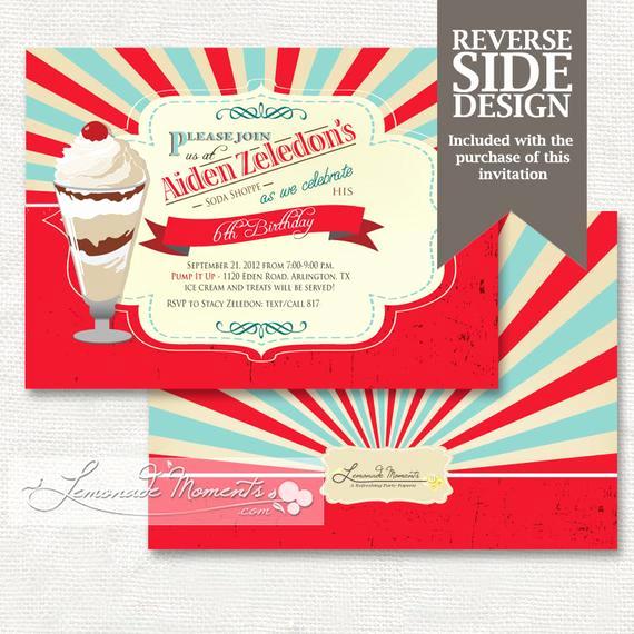 Ice Cream social Invitation Lovely Ice Cream social Invitation soda Shop by Lemonademoments