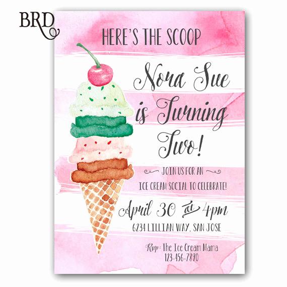 Ice Cream social Invitation Luxury Ice Cream social Invitation Ice Cream Party Ice Cream Birthday