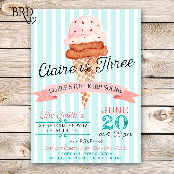 Ice Cream social Invitation New Ice Cream social Invitation Ice Cream Party Ice Cream Birthday