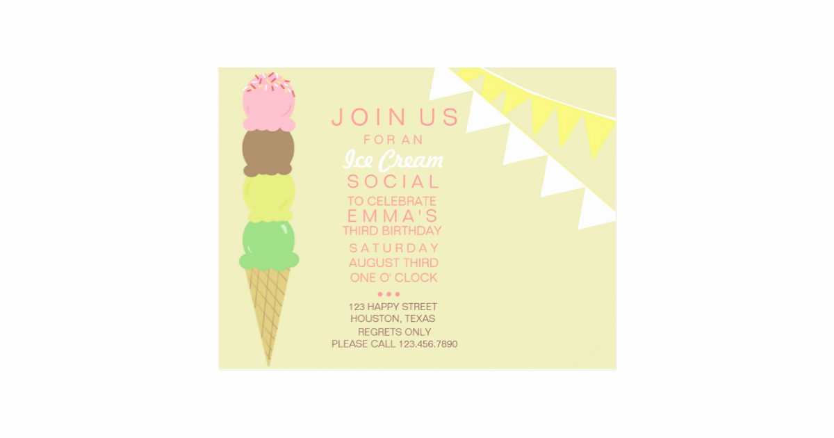 Ice Cream social Invitation New Ice Cream social Party Invitation Postcard