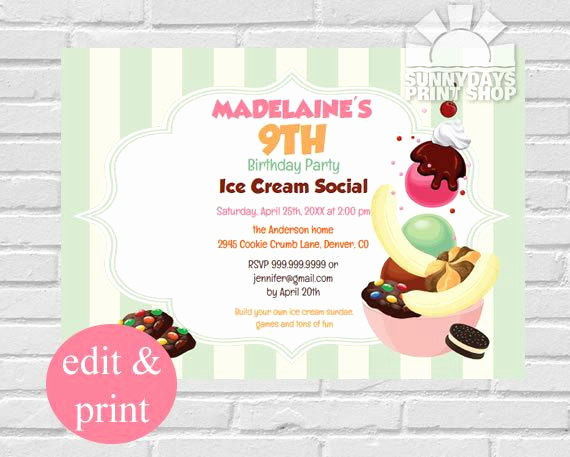 Ice Cream social Invitation Template Elegant Ice Cream Birthday Party Invitation Ice Cream social