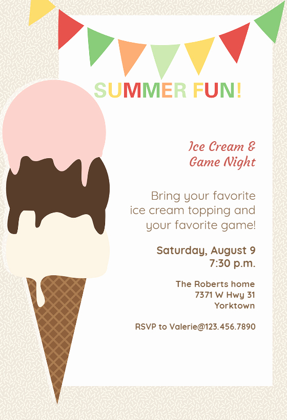 Ice Cream social Invitation Template Fresh Ice Cream Pool Party Invitation Template Free