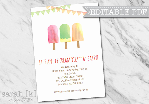 Ice Cream social Invitation Template Fresh Popsicle Ice Cream Party Invitation Ice Cream social