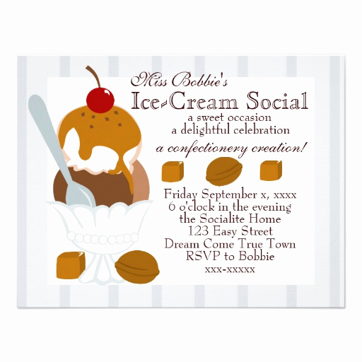 Ice Cream social Invitation Template Inspirational Caramel Covered Ice Cream Custom Invites