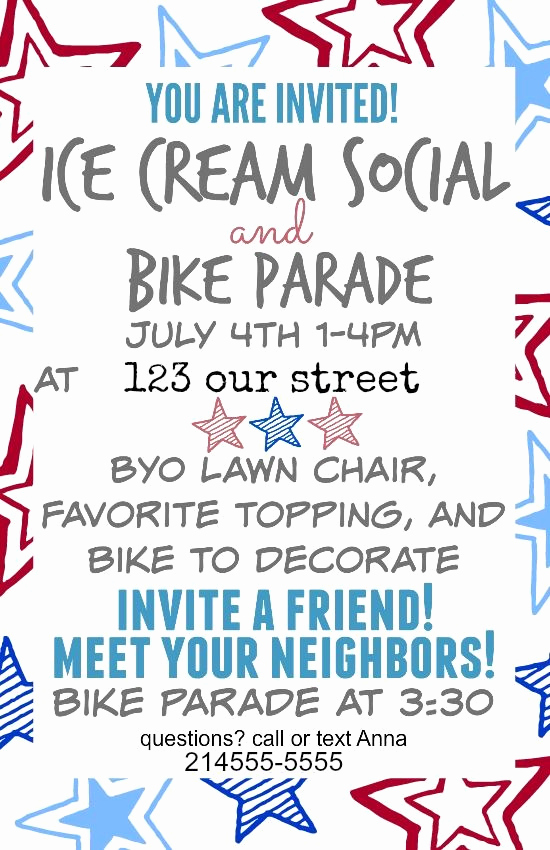 Ice Cream social Invitation Template Inspirational Fourth Of July 2015 Ice Cream social and Bike Parade In