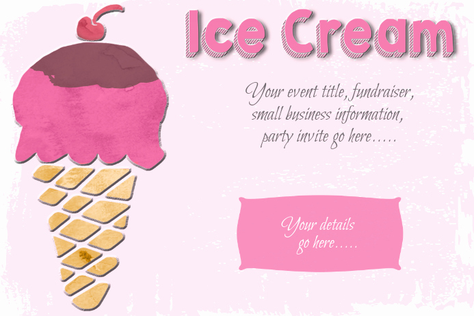 Ice Cream social Invitation Template Inspirational Ice Cream social Party Sweets Poster Flyer Template Pink