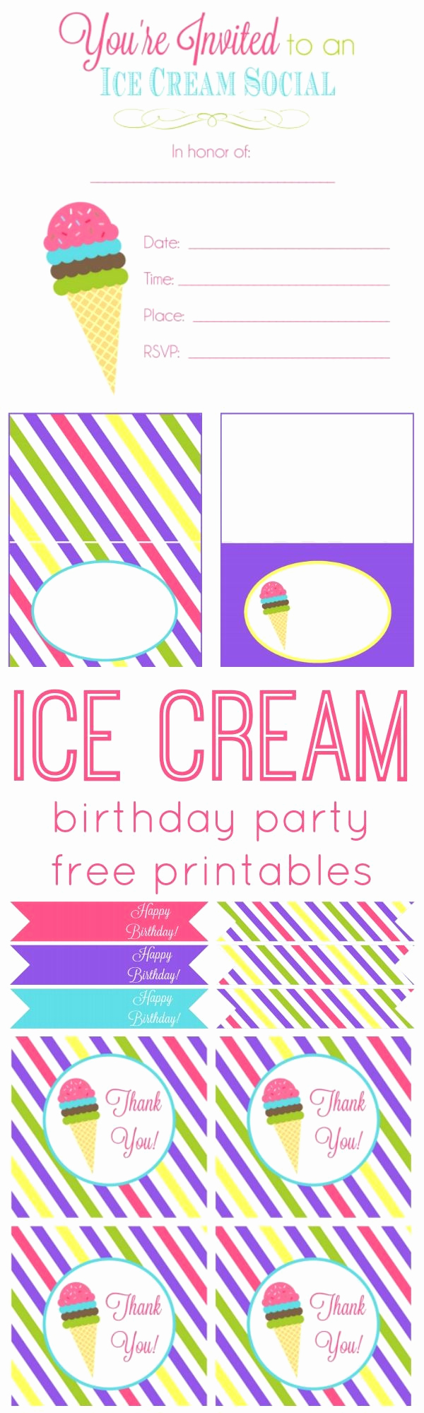 Ice Cream social Invitation Template Luxury Ice Cream Birthday Party Free Printables Party Ideas
