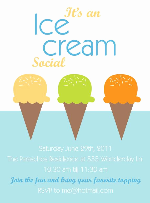 Ice Cream social Invitation Template Unique Items Similar to Printable or Emailable Ice Cream social